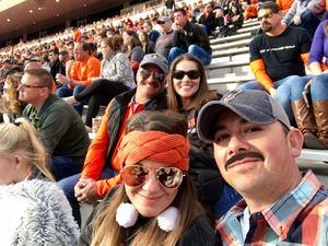 Stephanie attended Oklahoma State Cowboys Football vs. West Virginia Mountaineers - NCAA Football on Nov 17th 2018 via VetTix